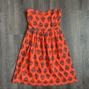 Orange Navy Strapless Summer Printed Dress (8)